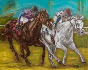 3-Brown-and-White-Horses-Racing-Original