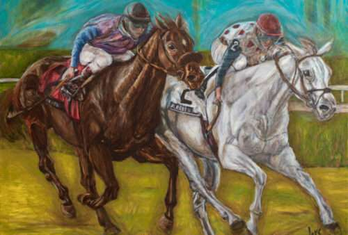 3-Brown-and-White-Horses-Racing-Original